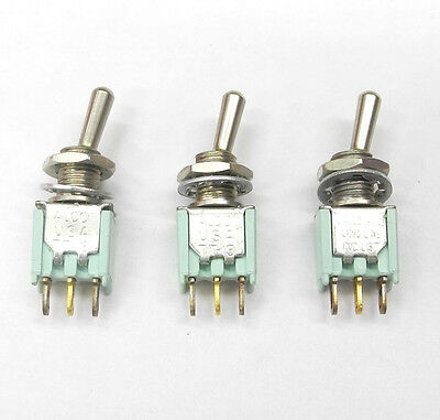 Lot Of Three Alco Tt13d-2t Spdt On-on 316 Bat Handle Tiny Toggle Switches. Ms