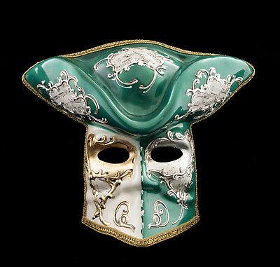 Mask Casanova from Venice Bauta Green Carnival Prom Venetian Vg14 1476