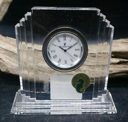 WATERFORD CRYSTAL Metropolitan Art Deco Clock Seiko Movement Made in Ireland (B2