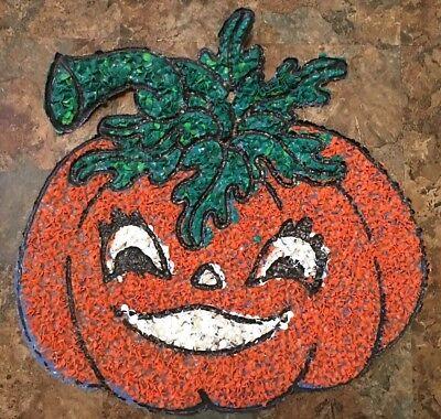 Large Vintage Melted Plastic Popcorn Pumpkin Halloween Decoration-Jack-o-Lant