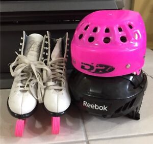 Youth size 2 used figure skates and helmets