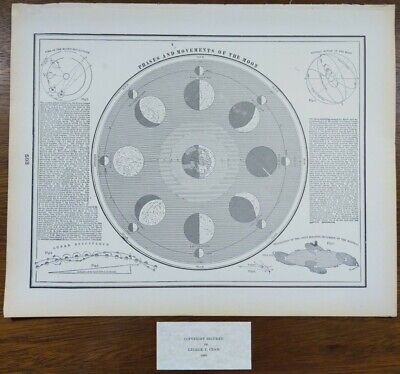 Vintage 1900 PHASES & MOVEMENTS OF THE MOON Old Antique Original DIURNAL MOTION