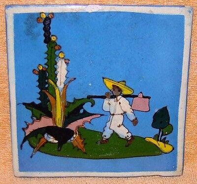 Vintage Mexican Tlaquepaque Pottery Tile 5 7/8 inch