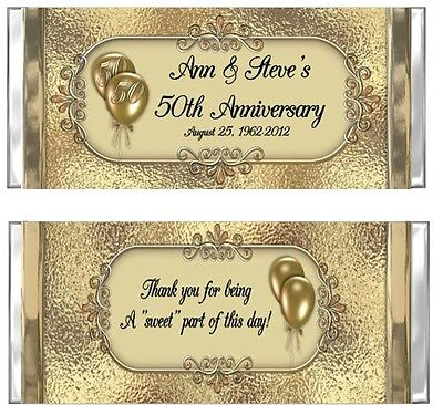50th Wedding Anniversary Candy Wrappers Party Favors Personalized 50th Anniversary Candy Wrappers