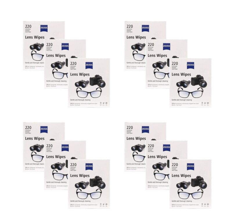 Zeiss Lens Wipes 220 count Individually Wrapped Gentle Cleaning Wipes (12 Pack)