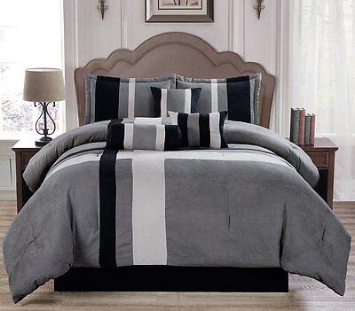 Soft Suede Gray Aberdeen 7 Piece Comforter Set - ALL Sizes