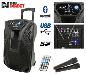 QTX Busker 12 - Portable PA Speaker With WIRELESS MICS, USB SD BLUETOOTH & RADIO