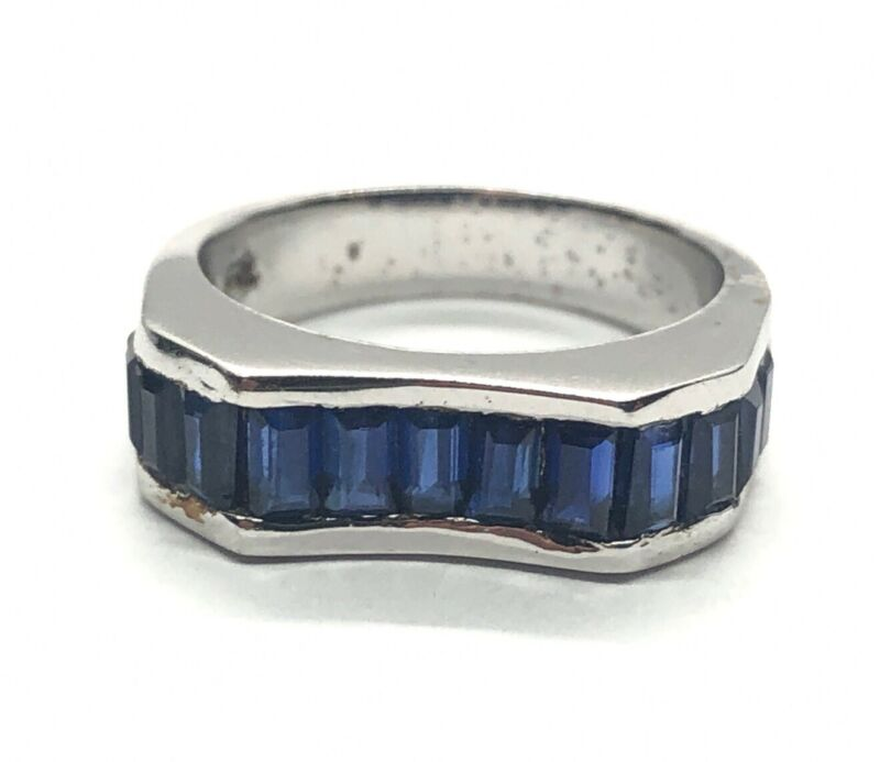 Vintage Sterling Silver Ring 925 Size 7 Band Sapphire Channel Set Signed PK