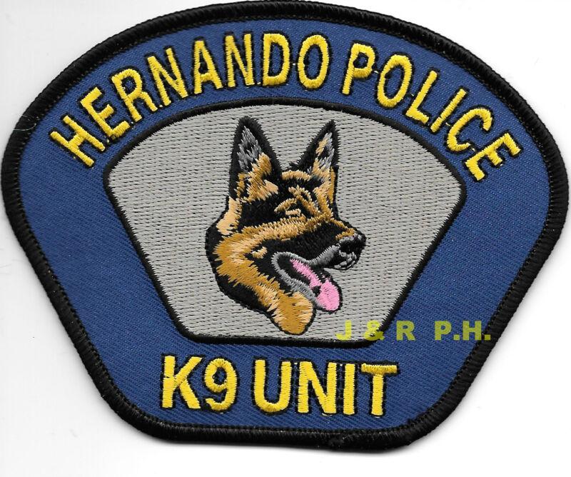 """Hernando  K-9 Unit, Mississippi (4.5"""" x 3.5"""" size)  shoulder police patch (fire)"""