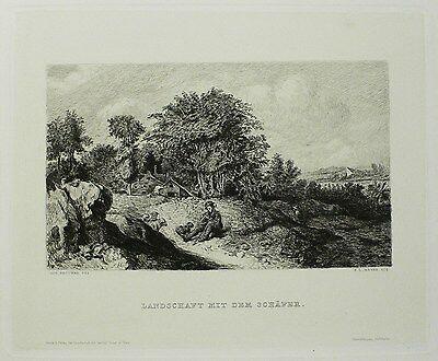 FRIEDRICH LEONHARD MEYER - Landschaft - Nach Adriaen Brouwer - Radierung 1884