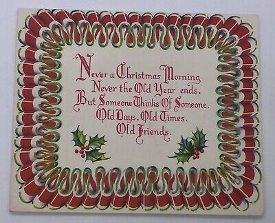 Old Fashioned Ribbon Candy Christmas Card Mid Century Greeting Bright Colors! ()
