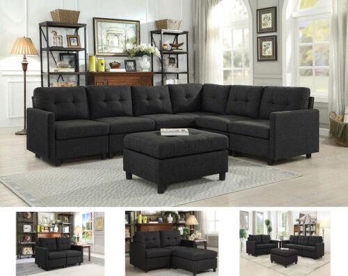 Contemporary Linen Modular Modern Sofa Microsuede Reversible Chaise w/ Ottoman