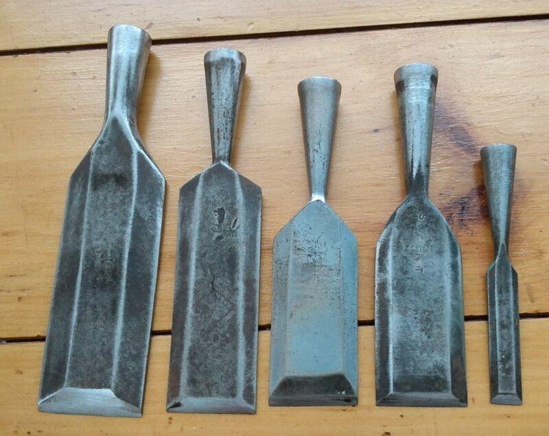 5 Vintage Antique Socket Style Beveled Chisels Shure-Kut Lakeside Greenlee