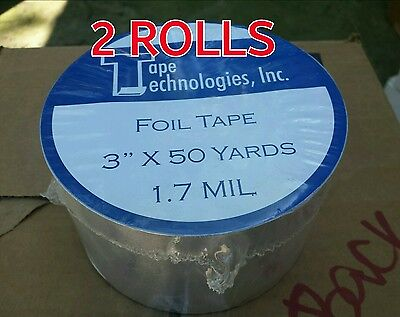 2 Rolls Hvac Self-adhesive Tape Foil Tape 3 X 1.7 Mil X 150 Ft Each