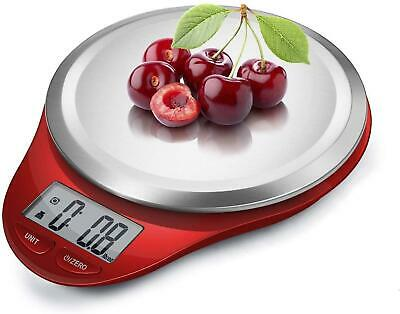 Food Scale Digital Kitchen Scale Weight Grams & Oz Cooking Stainless Steel Red