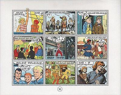 Timbres COLLECTIF   Belgique euro 9 pces  14,5x18,5