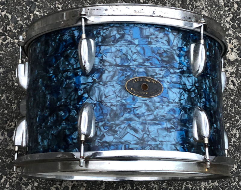 """Vintage Blue Marble Lyra Percussion Tom Drum 13 X 9"""" Made in Japan"""