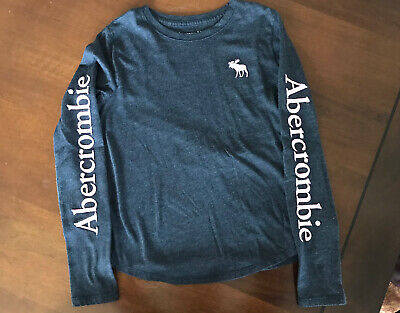 Abercrombie Kids Girls Long Sleeve T-shirt Logo Navy Size 9/10. Pink Logo & Name