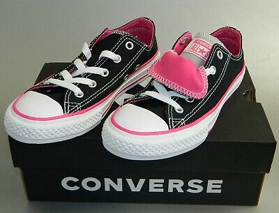 Converse Kids Chuck Taylor Double Tongue Oxford Low Top Sneakers Black Pink New