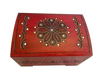 Medium Polish Wood Chest Handmade Floral Wood Jewelry Keepsake Box w/ Lock & Key - Chest Box