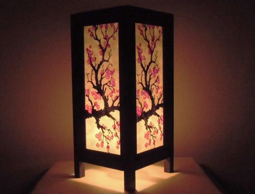 Bedside Table Lamp SAKURA Japanese Blossom Paper Lantern Lig