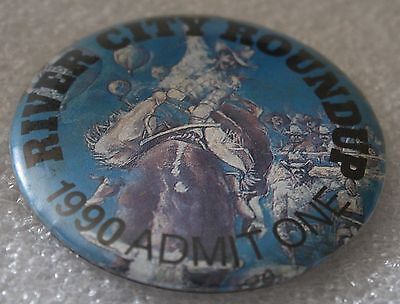 1990 Omaha AKSARBEN River City Roundup RCR ADMIT ONE PIN Pinback RODEO Cowboy