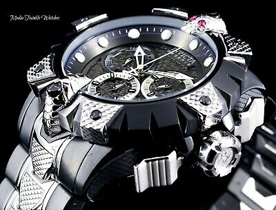 New Invicta Reserve 52mm Venom Viper Swiss Quartz Black & Silver Bracelet Watch