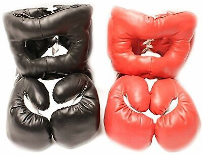2 PAIRS 16 OZ BOXING PRACTICE TRAINING GLOVES w/ HEAD GEAR PROTECTION RED BLACK