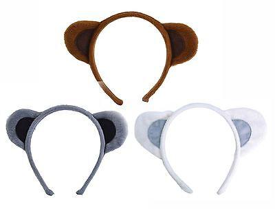 Brown Grey White Soft Fur Animal Ears on Headband Dog Monkey Mouse Bear
