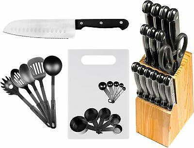29 Pc Stainless Grit one's teeth Kitchen Knives or Knife Set w/ Block & Kitchen Utensils