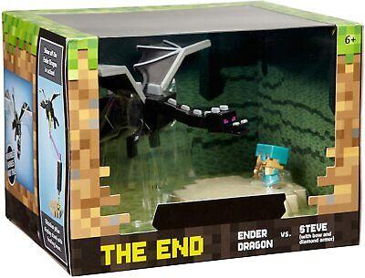 "NEW Mattel Minecraft Mini Figure Battle Box ""The End"" Ender Dragon vs Steve"