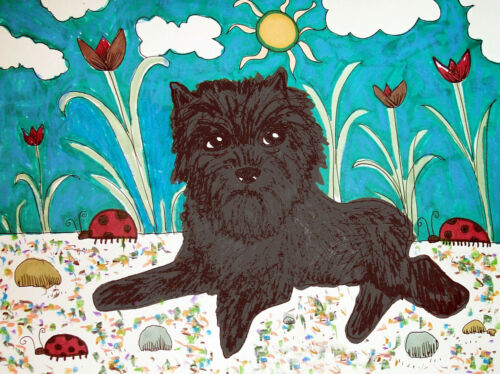 ACEO Affenpinscher in Garden Dog Collectible Signed Art Card Print KSAMS Vintage
