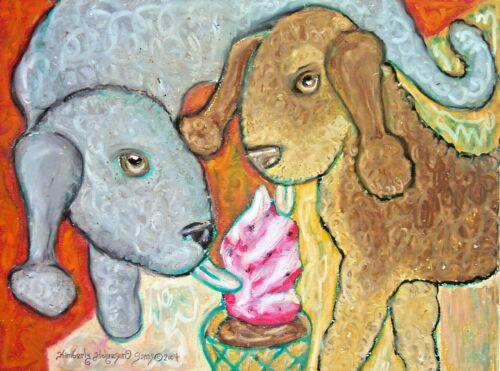BEDLINGTON TERRIER With Ice Cream 11 x 14 Dog Art Print Signed by Artist KSams
