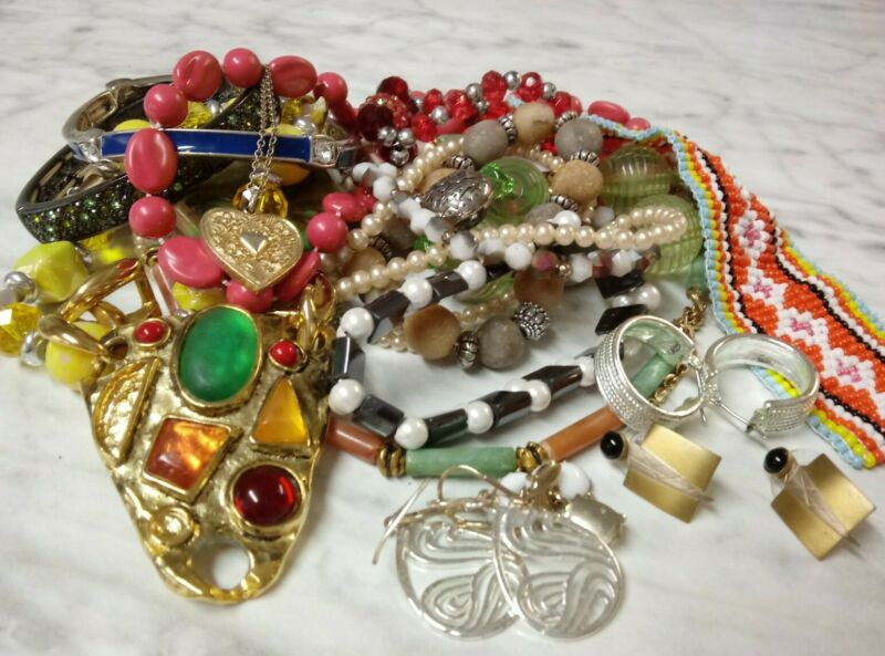 Small Mixed Costume Jewelry Lot All Wearable Some Need TLC Vtg Now -Plz Read