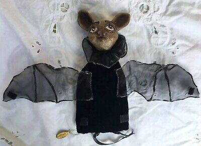 Katherines Collection Halloween Hanging Vampire Bat Velvet Treat Bag Pouch -