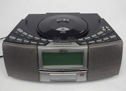 IHS Wedge AM FM CD Player USB & SD Card Slot Clock Radio Dual Alarm  A4116