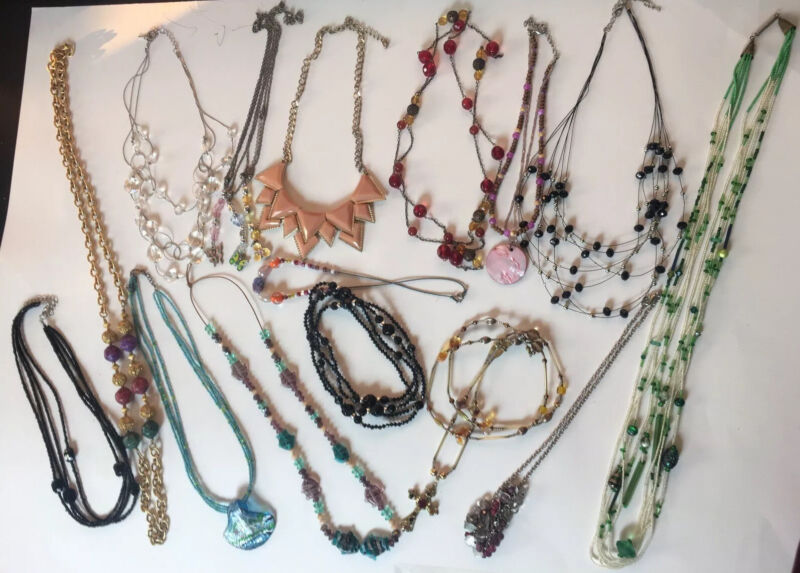 LOT OF 17 MIXED Vintage To Now Custom NECKLACES Beads Enamel Acrylic Glass Seed