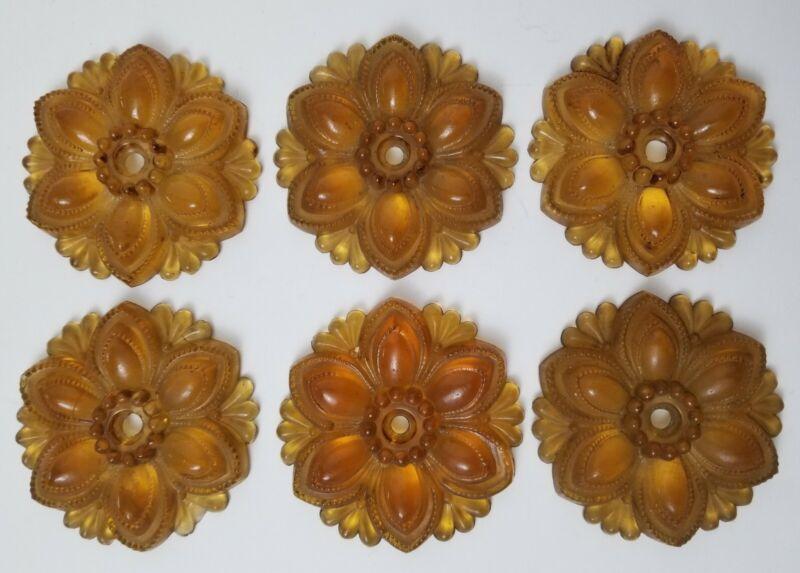 6 Vintage Amber Czech Pressed Glass Flower Antique Curtain Drapery Tieback Hook
