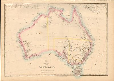 1863  LARGE ANTIQUE MAP - DISPATCH ATLAS- AUSTRALIA