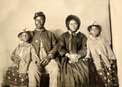 1863-Civil War-African American Soldier w/ Wife & Daughters-Only known Family
