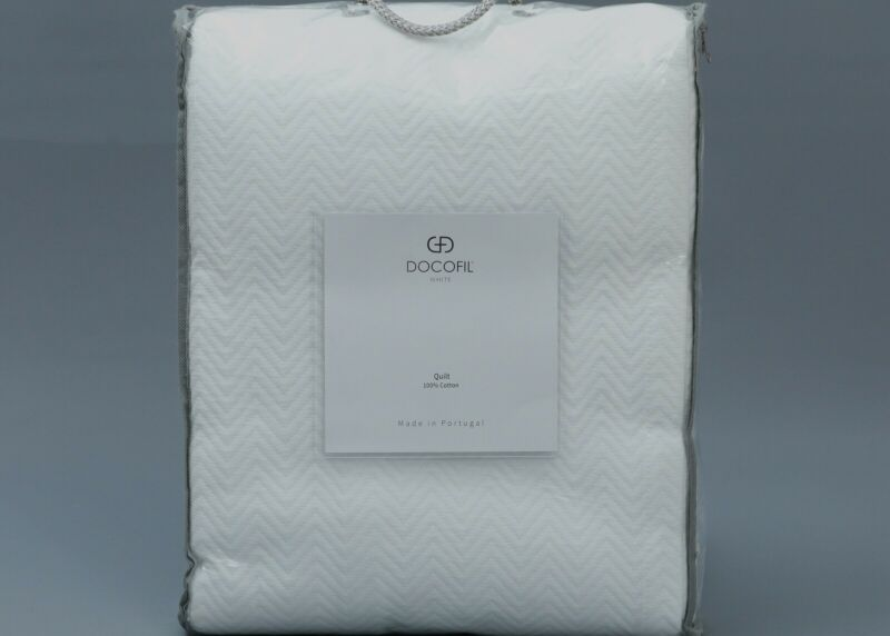 DOCOFIL HERRINGBONE WHITE 100% Cotton QUEEN Quilt/Coverlet