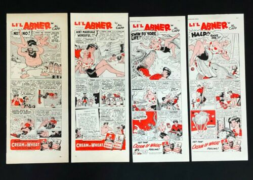 Lot of 4 1940s Li'L Abner Cream of Wheat Advertisement Comic Daisy Mae