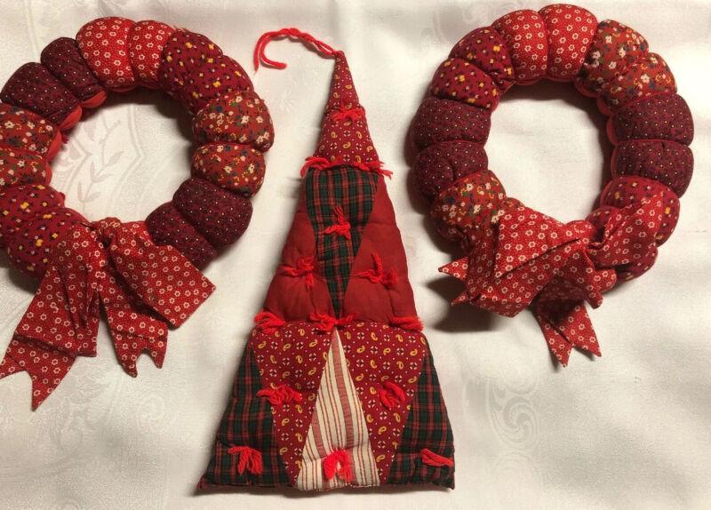 Handmade Stuffed Cloth Fabric Christmas Holiday Wreath 3 Pc Set Lot Read Below