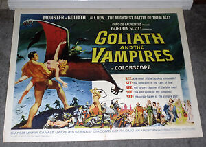 GOLIATH AND THE VAMPIRES original 1964 movie poster GORDON SCOTT 22x28