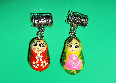 Tiny Hand Painted Tibetan Charm Unique Russian Doll European Bead Snake Bracelet