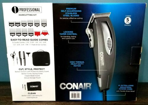 Conair 21pc Professional Haircutting Kit Stainless Steel Clipper Trimmer Heavy D