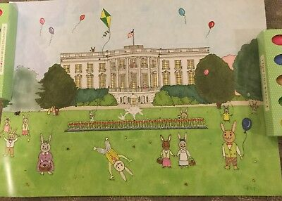 TRUMP 2018 POSTER WHITE HOUSE EASTER EGG ROLL with USA FLAG  RABBIT BUNNY KITE