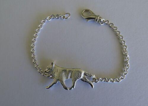 Large Sterling Silver Australian Cattle Dog Moving Study Bracelet