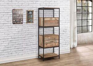 Birlea Urban Industrial Chic 3 Drawer Shelving Unit Bookcase Shelves Wood Metal