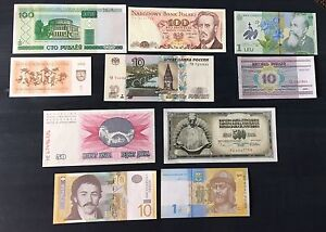 Collection of 10 European Banknotes & Papermoney -Crisps